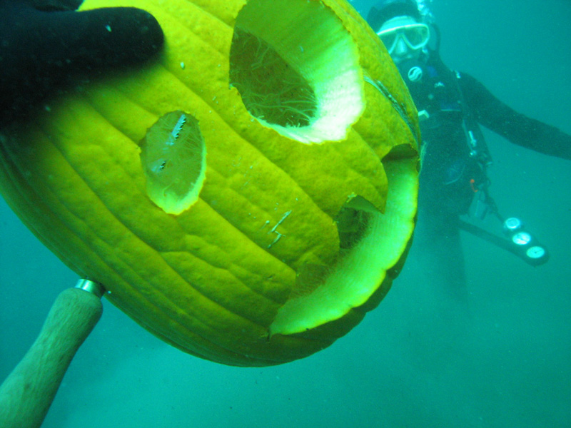 My Underwater Carved Pumpkin !